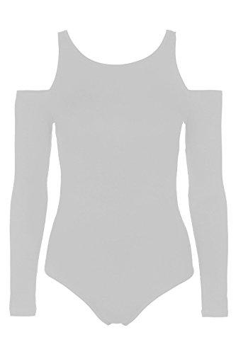 Lush clothing-c93-new Mesdames épaule froid Body à manches longues pour femme Découpe justaucorps de 8–22 Noir - Blanc