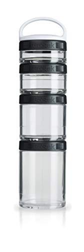 BlenderBottle GoStak Starter 4Pak inklusive Handgriff  - Behälter zum Aufbewahren von Protein, Pulver, Vitaminen und mehr, 1er Pack - schwarz
