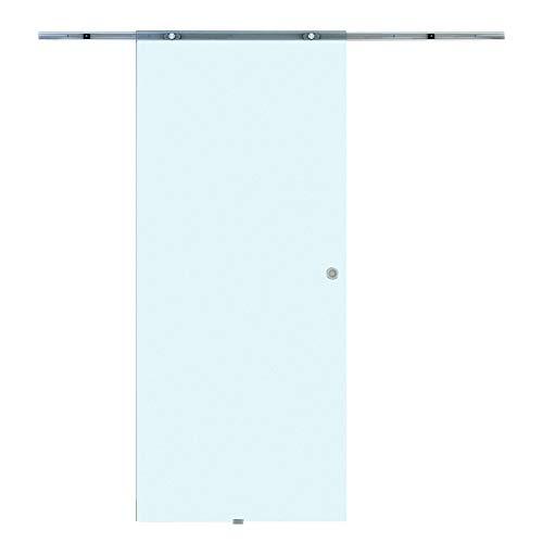 Homcom porta scorrevole interno vetro smerigliato con binario in alluminio 77.5 × 205 × 0.8cm