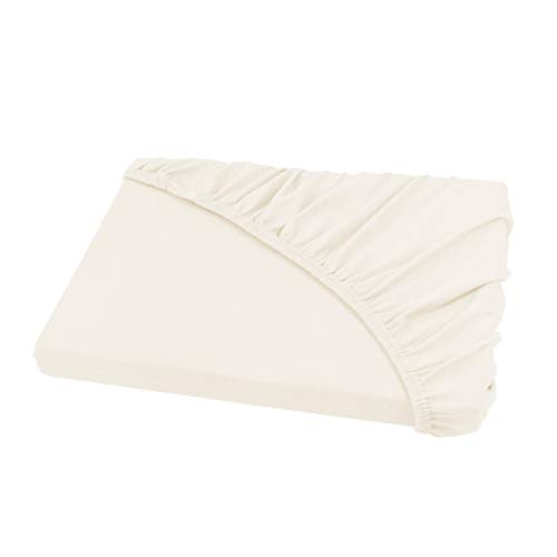 Spannbettlaken für Wasserbetten und Boxspringbetten/Jersey Spannbetttuch 200 x 220 cm in naturweiß/Creme/Ecru