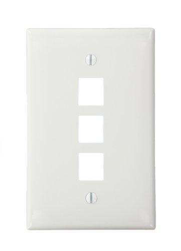 Leviton 41091-3WN QuickPort Midsize Wallplate, Single Gang, 3-Port, White by Leviton Quickport Single