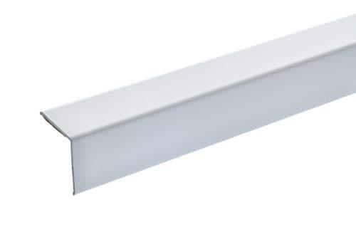acerto 38151 Eckschutzprofil Aluminium, 125cm / 20 x 20mm * Selbstklebend * Made in Germany * Dreifach gekantet ohne Spitze | Winkel-Profil, Winkelleiste als Kantenschutz & Eckschutzschiene für Wände