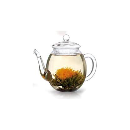 Creano-Teeblumen-Mix-GeschenksetErblhTee-mit-Glaskanne-500ml-Weitee-Schwarztee-mit-6-Teekugeln-je-3x-weier-schwarzer-Tee