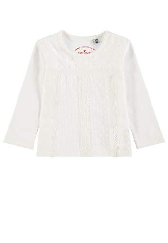 TOM TAILOR Kids Baby-Mädchen T-Shirt Patterned Langarmshirt, Weiß (Cloud Dancer 1610), 86 -