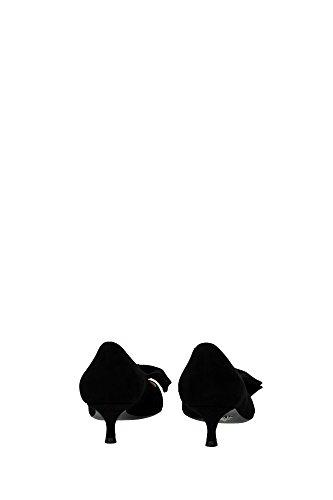 1I024HNERO Prada Talon Femme Chamois Noir Noir
