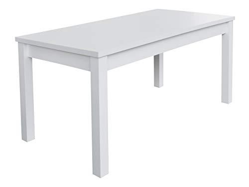 Mirjan24  Esszimmertisch S18L, Praktischer Auszugstisch, Esstisch, Farbauswahl, Tisch für Esszimmer, Küchentisch, Ausziehtisch (Weiß, 80x160x200 cm) -