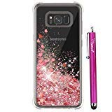 S8 Plus Case for Women, Cattech Glitter Liquid Sparkle Floating Luxury Bling Quicksand [Drop Protection] [Non-Slip Grip] Slim Clear Soft TPU Cover for Samsung Galaxy S 8 Plus + Stylus (Rose Gold)