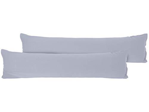 npluseins Doppelpack Kissenbezüge aus sanforisiertem Baumwoll-Jersey Zum Sparpreis - in Dezentem Design - 12 Dekorativen Farben und 5 Größen, 40 x 145 cm, Silber