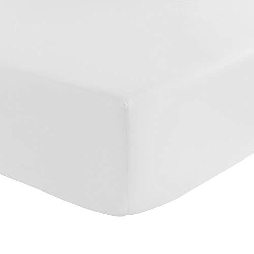 Cflagrant Drap Housse 100% Coton Ultra Doux Haut de Gamme Spécial Matelas épais Bonnet jusqu'à 30 cm (Blanc Banquise, 140_x_190_x_30cm)