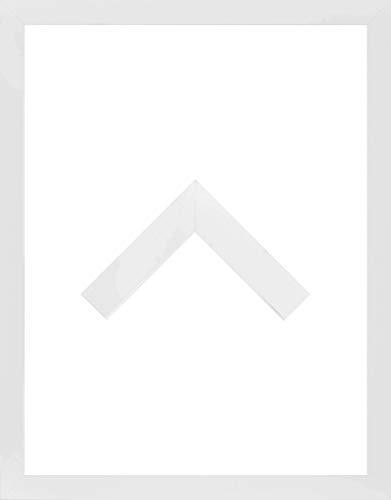 Morena Holz Werkstoff Bilderrahmen 55 x 70 cm modernes sehr eckiges Profil 70 x 55 cm grosse Farbauswahl jetzt: Weiß Matt mit Kunstglas klar 1 mm