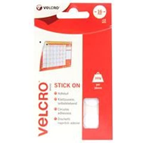STICK ON COINS 16MM WHITE (16SETS) BPSCA 60227 - OE04201 Di VELCRO (16 Mm Coin)