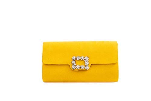 Haute für Diva Damen Elegantes Abend Strass Detail Clutch - Gelb, Small -