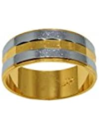 Sanaa Creation Men/Boy Ring Polished Two Tone Gold And Silver Stripes Band Ring