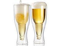 Idea Regalo - Infactory, bicchiere a doppia parete: Set da 2 bicchieri da birra, in vetro, a doppia parete, 0,2 litri (Bicchieri per birra in vetro, a doppia parete, prodotto divertente)