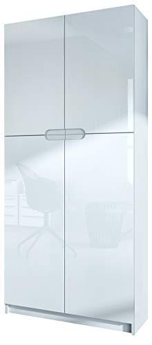 Vladon Büroschrank Aktenschrank Büromöbel Logan, Korpus in Weiß matt/Fronten in Weiß Hochglanz -