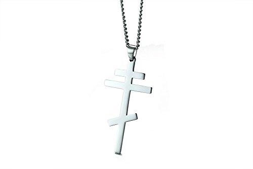 VNOX Männer Frauen Edelstahl Russisch Orthodoxe Kreuz Anhänger Halskette Byzantinische Reich Silber,freie kubanische Kette