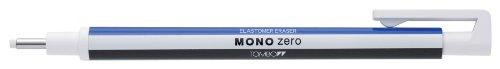 Tombow Mono zero Präzisionsradierer, runde Spitze, mit 2 Nachfüllminen, Weiß