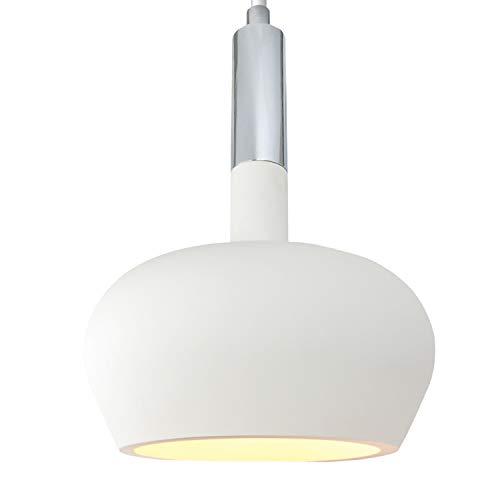 Pendel-Leuchte Deckenleuchte aus Gips CAPRI (Weiss) Rund Inkl. 1 X 230V IP20 Gipslampe überstreichbar, Skandinavischer Stil, Modern Hängeleuchte für Wohnzimmer/Esszimmer/Büro - ohne Leuchtmittel -