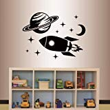 Wall Vinyl Decal Home Decor Art Sticker Nursery Boy Kids Rocket and planet space ship Room Removable Stylish mural unique design by in-Style Decals