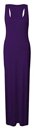 Femmes Style Jersey Dos Nageur Robe Longue Sans Manche Violet