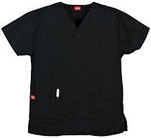 Sandwashed Two Pocket V-Ausschnitt Scrub Top (XS-5X-SKU: 10001ABLKXS; Farbe: Schwarz; Gr??e: XS XS (Pocket-v-ausschnitt-scrub-top)