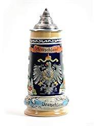 AmoyArt Bierkrug Deutschland mit Deckel Gravur Zinndeckel Bierseidel Tankard Bierkrüge mit Deckel German Beer Stein with Lid Bier Stein Mug Krug Steins 0.8L -