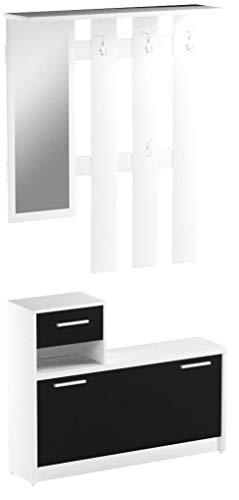 NEWFACE  Kompaktgarderobe, Holz, Schwarz-Weiß, 97.5 x 25 x 180 cm