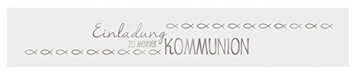 Ursus 57580010 - Banderolen, Einladung zu Meiner Kommunion, 5 Stück, weiß/silber
