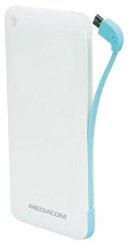 Mediacom M-PBSF50 Power Bank 5000 mah, Bianco