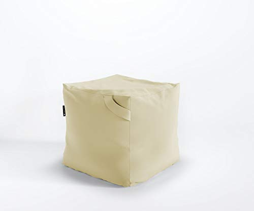 Designer Sitzpouf FIKKA Pouf Lounge Sitzsack Granulat Kunstlederbezug Valencia, Farbe:V6020 - Gold
