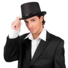 Zylinder Hut Kopf-Bedeckung Schwarz Samt Anzug Edel Schleife Einheitsgröße Deluxe Erwachsenen-Kostüm Verkleidung Fasching Halloween Karneval Herren (Kostüme Jacket Herren Smoking)