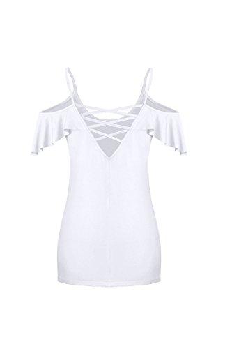 Frauen Ist Sommer, Kalte Schulter Rutschen - T - Shirt. White