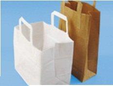 250 Stück Papiertaschen Papiertüten weiß 22+10x28cm