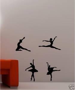 Online Design - 4 Adesivi da parete in vinile a forma di ballerine - (Giallo Ballerina)
