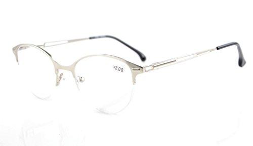 Eyekepper calidad primavera bisagras medio del borde Cat-eye estilo lectura gafas mujer Plata +0.75