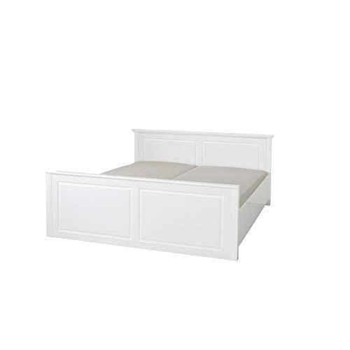 Inter Link Landhausbett Doppelbett Ehebett 160x200 FSC Kiefer Massivholz Weiß lackiert, 174 x 212 x 90 cm
