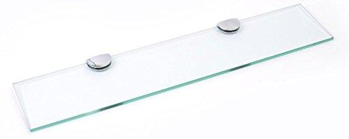 500mm x 100mm 15,2cm 6mm spessore vetro temperato mensola per bagno, camera da letto ufficio grande supporti per mensole con finiture cromate