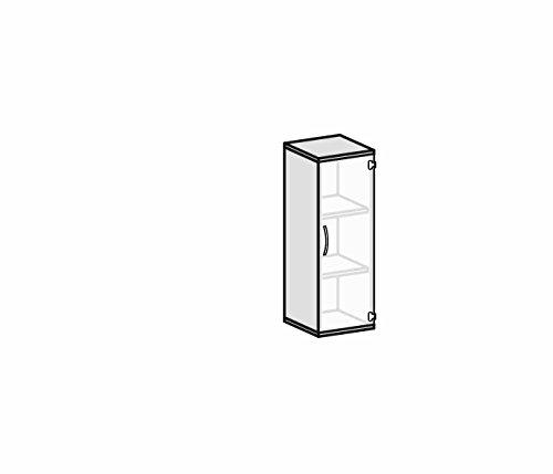 Flügeltürenschrank mit satinierter, rahmenloser Glastür, 2 Dekor-Einlegeböden, nicht abschließbar, Griff links, 400x425x1152, Ahorn