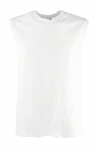 White Knit Tank Top (Fruit Of The Loom 61222 Mens Sleeveless Mens Vest Tank Top L,White)