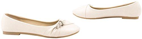 Elara Damen Ballerinas | Bequeme Lederoptik Flats | Freizeitschuhe Beige Paris