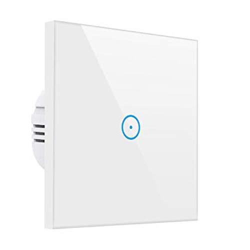 Smart Alexa Lichtschalter,MEAMOR WiFi Funk Wasserdicht Touch Wandschalter Kein Hub erforderlich,Kompatibel mit Alexa/Google Assistant/Smartphone(1 Gang)