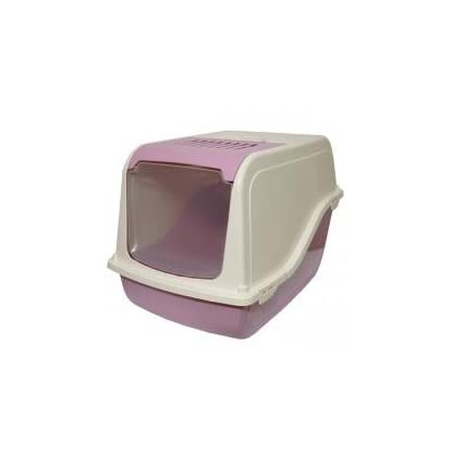 Rosewood Ariel Front Opening Hooded Cat Toilet, Cotton Candy 1