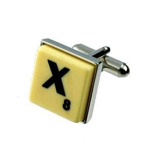 English Gems boutons de manchette Lettre X X2 avec étui Noir