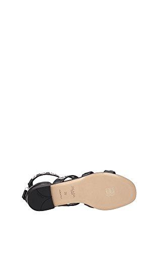 1X428GNERO Prada Sandale Femme Cuir Noir Noir