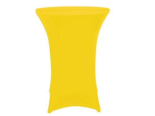 Robuster Stehtisch / Klapptisch als Komplettset mit Strech Husse, gelb, Partytisch Bistrotisch