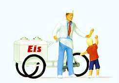 Preiser 28126 H0 Eisverkäufer mit Fahrrad