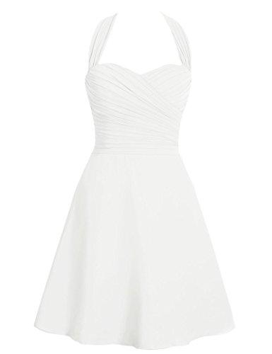 HUINI Halter B¨¹gel Kurzschluss Chiffon Brautjunfer Abschlussball Kleidet Hochzeits Partei Formale Kleider Elfenbein