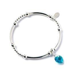 Sterling Sliver nouilles Bracelet en perle avec Aqua Bleu cristal Swarovski Elements Cœur Charm