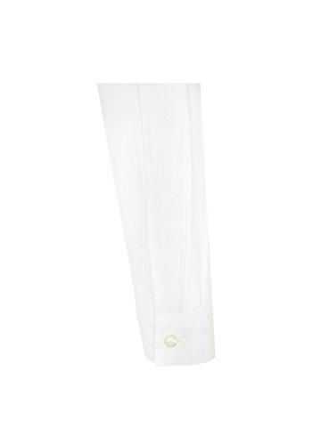 Michaelax-Fashion-Trade - Chemisier - Uni - Col Chemise Classique - Manches Longues - Femme Blanc - Weiß(1)