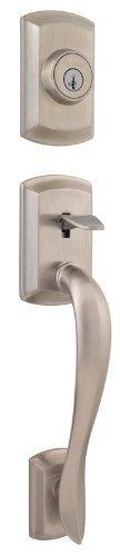 Avalon Double Cylinder Satin Nickel Handleset Less Interior Pack Feat SmartKey by Kwikset - Satin Nickel Handleset
